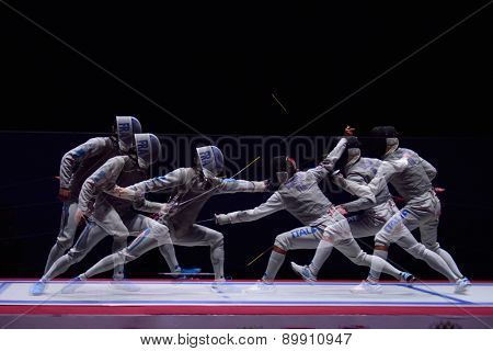 ST. PETERSBURG, RUSSIA - MAY 3, 2015: Match for 3rd place Italy vs France during 41th International fencing tournament St. Petersburg Foil. The tournament is the stage of FIE World Cup