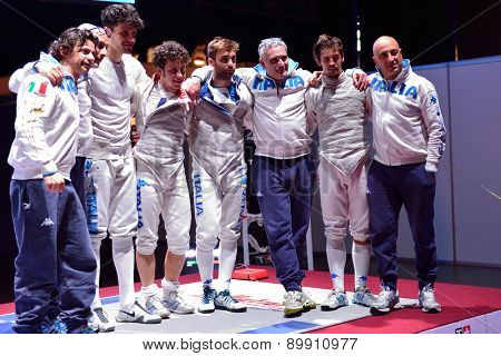 ST. PETERSBURG, RUSSIA - MAY 3, 2015: Bronze medalists of International fencing tournament St. Petersburg Foil team Italy after the match for 3rd place. The tournament is the stage of FIE World Cup