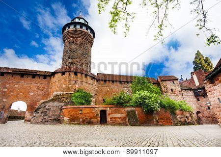 Kaiserburg wall with Sinwellturm in Nuremberg