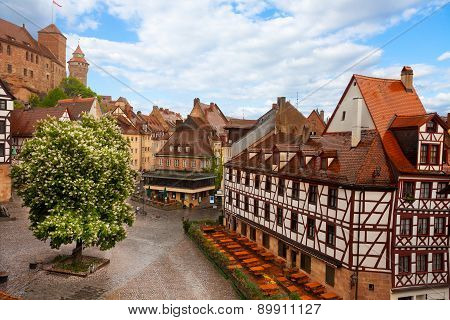 View from Kaiserburg of Fachwerk houses, Nuremberg