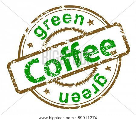 grunge stamp with text green coffee