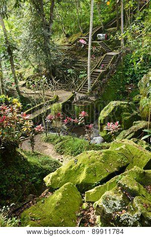 Beautiful Walkway In Balinese Garden, Bali, Indonesia
