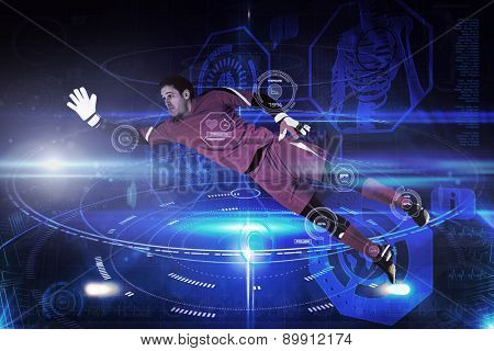 Fit goal keeper jumping up against futuristic black background with circles