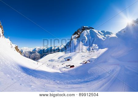 Krasnaya polyana winter Caucasus landscape, Sochi