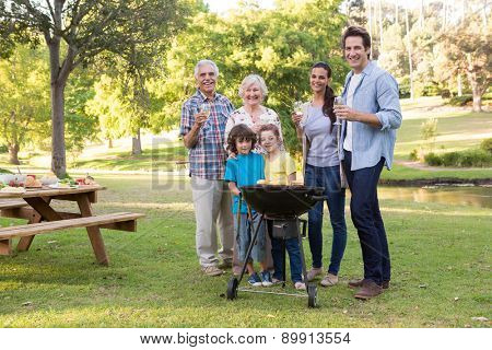 Extended family having a barbecue on a sunny day