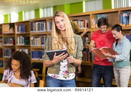 Group of college students in the library