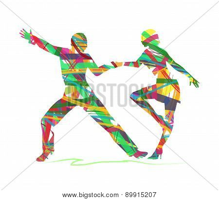 abstract silhouette of a dancers