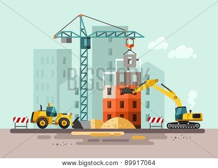 Construction site, building a house.