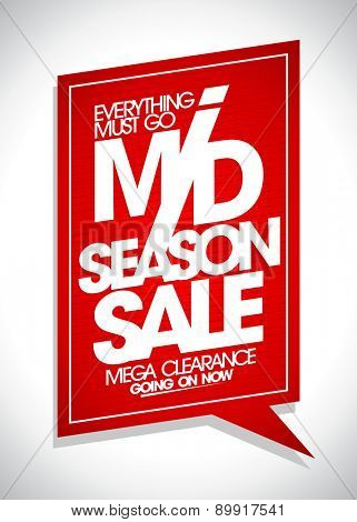 Mid season sale red speech bubble.