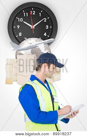 Supervisor writing notes on clipboard against logistics graphic