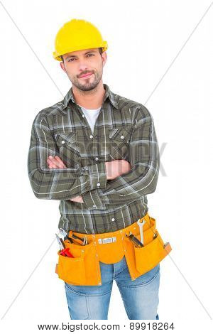 Confident manual worker standing on white background