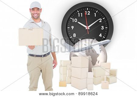 Delivery man giving package on white background against logistics graphic