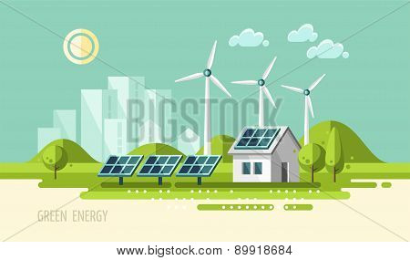 Green energy, urban landscape, ecology.