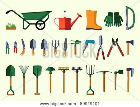 Set of various gardening items. Garden tools. Flat design illustration of items for gardening. Vector illustration.