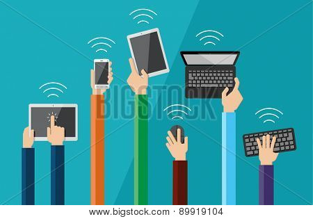 Illustration of hands holding hi tech devices. Vector set of flat hand icons holding various hi-tech computer and communication devices.