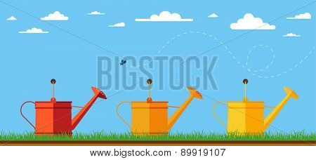 Illustration of watering cans. Flat design illustration of three watering cans for garden. Vector illustration.