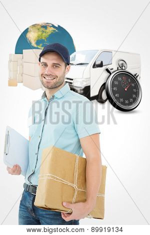 Portrait of happy courier man with parcel against logistics graphic