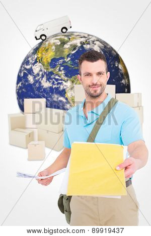 Postman with letter against logistics concept