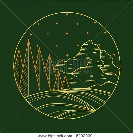 Line art.Mountain