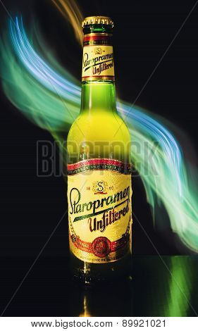 Bottle Of Unfiltered Staropramen Beer With Interesting Light Effect