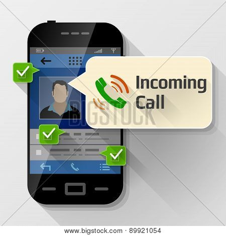 Smartphone With Message Bubble About Incoming Call