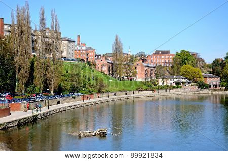 View along River Severn, Shrewsbury.