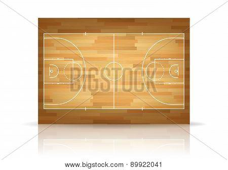Vector Wooden Basketball Court