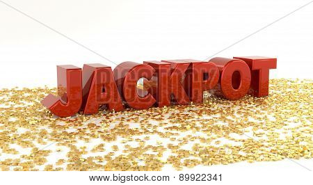 Jackpot - Red Text On Gold Stars - High Quality 3D Render
