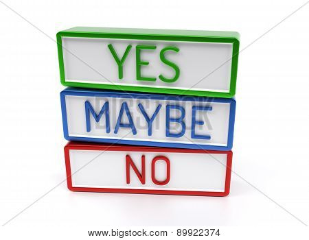 Yes No Maybe - High Quality 3D Render
