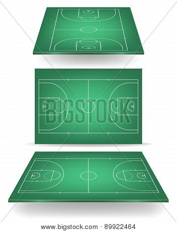 Green Basketball Court With Perspective