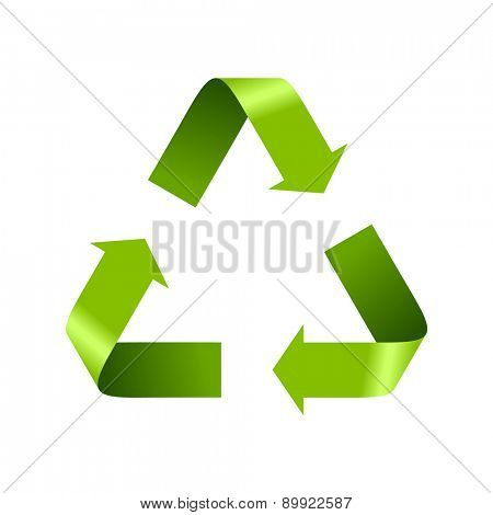 Green recycle logo sign isolated on white. Vector design template