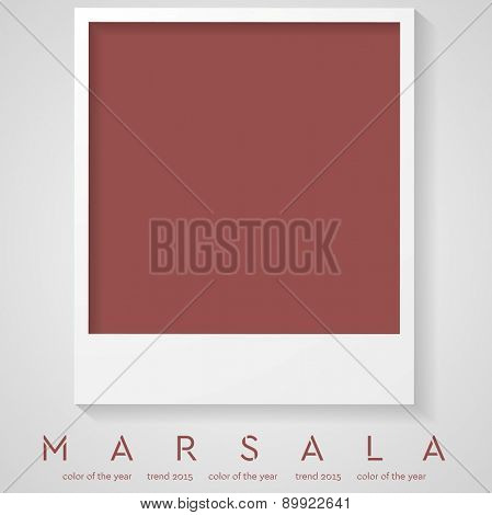 Trendy color marsala 2015. Polaroid frame vector background