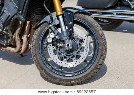 The Front Brakes Of A Sports Motorcycle