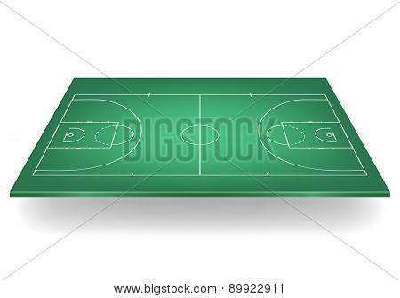 Green Basketball Court. Vector Illustration.