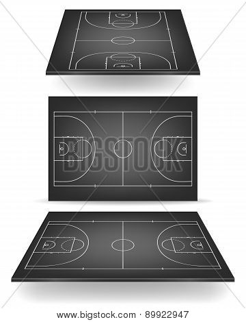 Black Basketball Court With Perspective