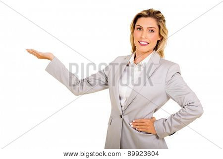 happy young businesswoman presenting on white background