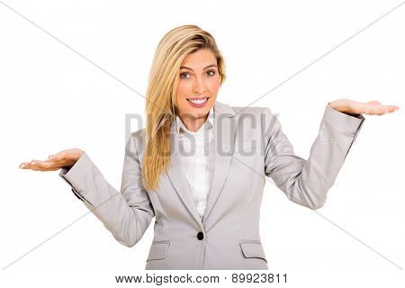 pretty businesswoman making do not know sign