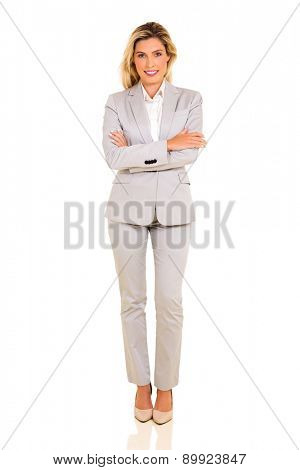 successful young corporate worker posing on white background