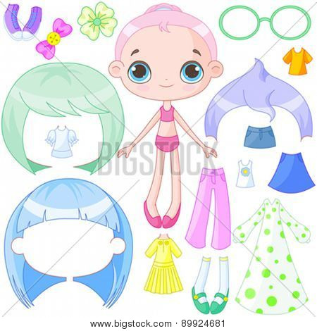 Illustration of very cute dress up doll