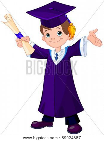 Illustration of cute boy graduates