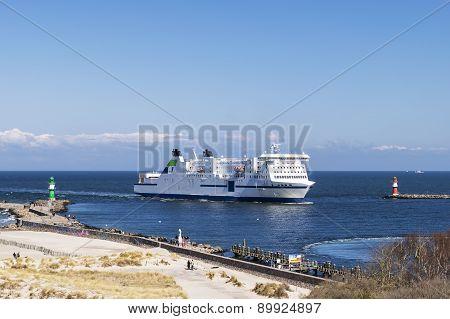 Warnemunde With Passenger Ship
