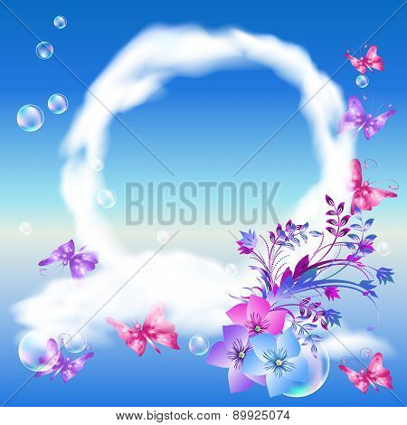 Clouds And Butterflies In The Sky