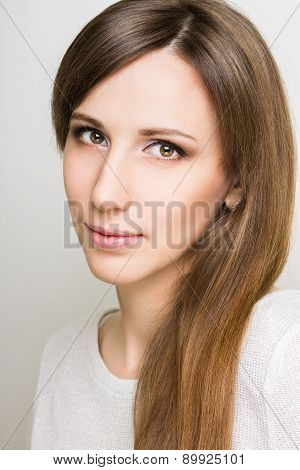 Pretty Caucasian Woman With Long Hair