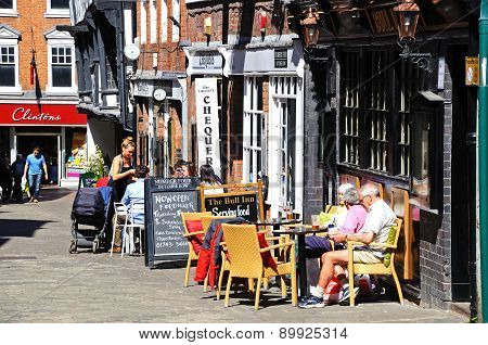 Pavement cafes, Shrewsbury.