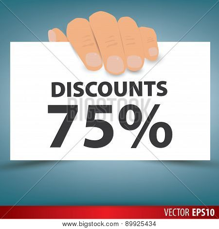Hand Holding White Paper, A Discount Of 75 Percent. Vector.