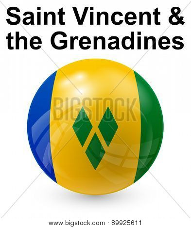 saint vincent and the grenadines official state button ball flag