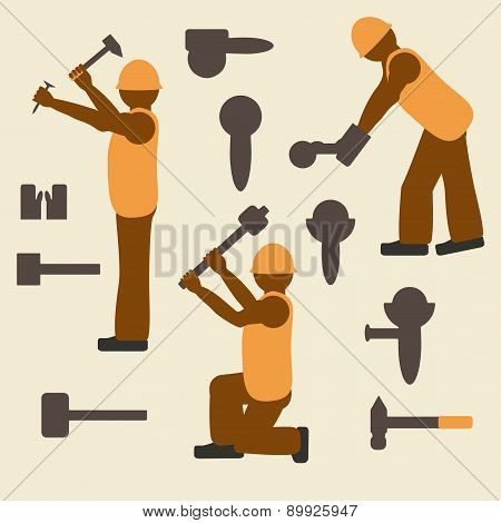 Construction Worker And Tools Silhouette Icons Set.  Design Suitable And Editable Vector.