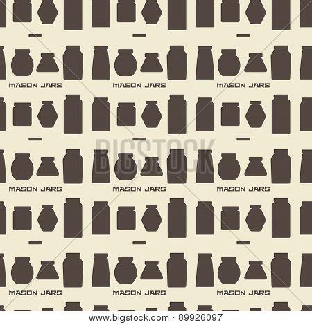 Mason Jars  Silhouette Icons Set Seamless Texture.