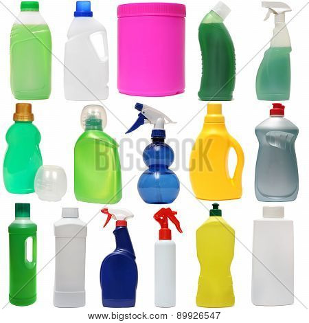 cleaning equipment . colored plastic bottles with Detergent is