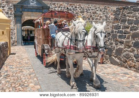 Horse Drawn Coach Leaving Castle Of Good Hope